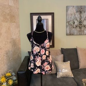 AMERICAN EAGLE | NWT Black Floral Button Down Top